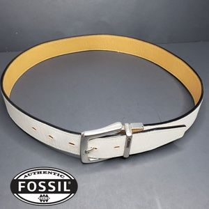 """Fossil Belt Off-White Silver Buckle 33"""""""